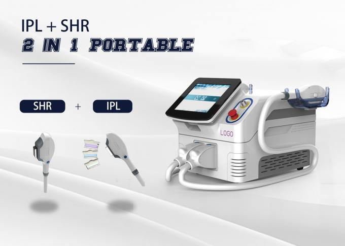 Portable 2 In 1 Multi Function Laser 2 Handpiece E - Light/ IPL/ SHR/ OPT /RF Machine